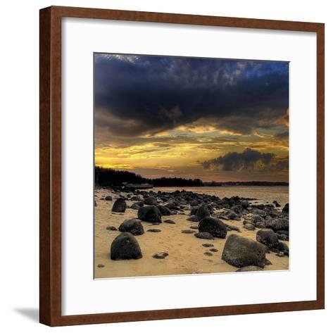 Rocks on Beach-PhotoINC Studio-Framed Art Print