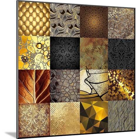Tiles Decor Gold-GraphINC-Mounted Art Print