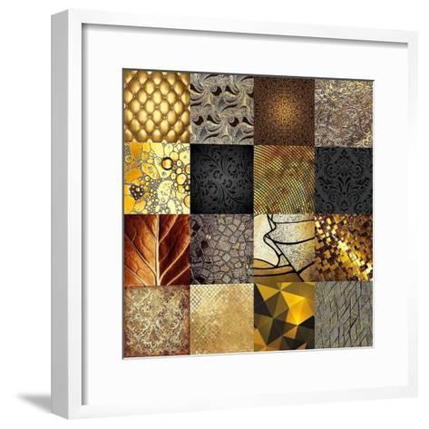 Tiles Decor Gold-GraphINC-Framed Art Print