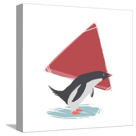 Minimalist Penguin, Boys Part III-Color Me Happy-Stretched Canvas Print