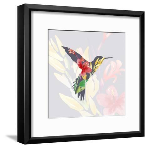 Grey Floral Hummingbird-Color Me Happy-Framed Art Print