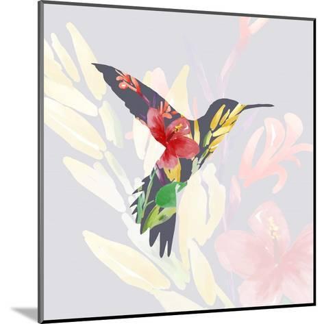 Grey Floral Hummingbird-Color Me Happy-Mounted Art Print