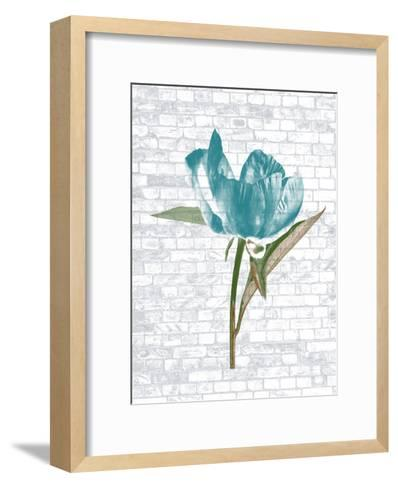 Blue Brick Floral-Sheldon Lewis-Framed Art Print