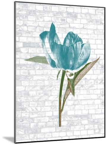 Blue Brick Floral-Sheldon Lewis-Mounted Art Print