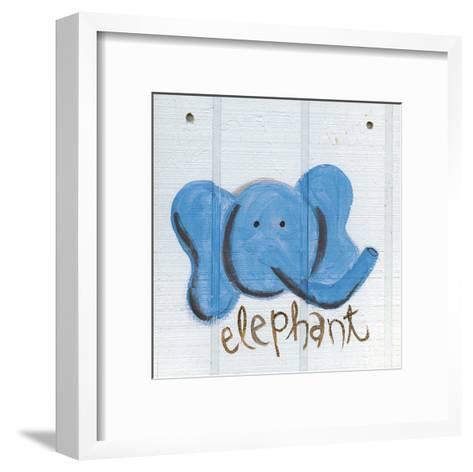Happy Blue Elephant-Erin Butson-Framed Art Print
