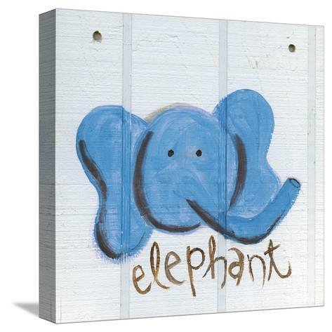 Happy Blue Elephant-Erin Butson-Stretched Canvas Print