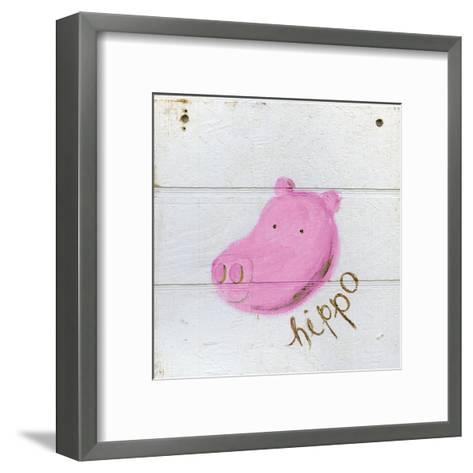 Happy Pink Hippo-Erin Butson-Framed Art Print