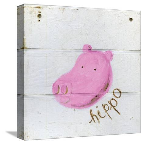Happy Pink Hippo-Erin Butson-Stretched Canvas Print
