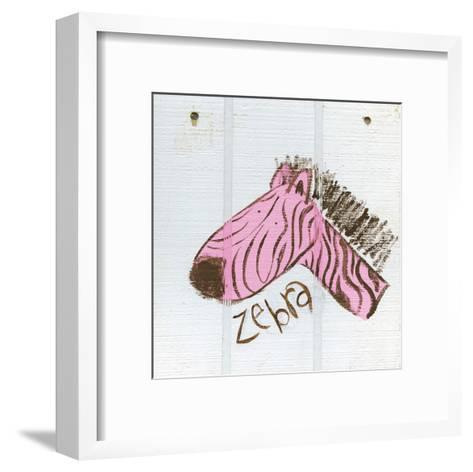 Happy Pink Zebra-Erin Butson-Framed Art Print