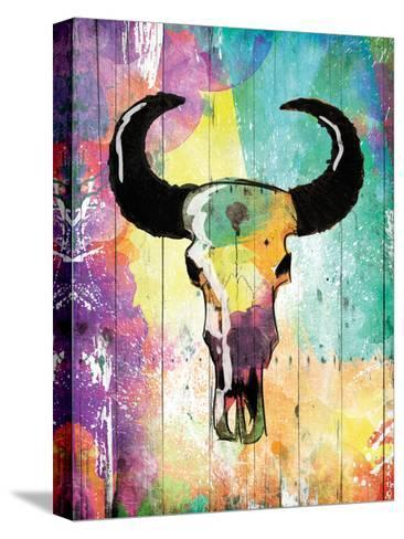 Colorful Bull-Jace Grey-Stretched Canvas Print