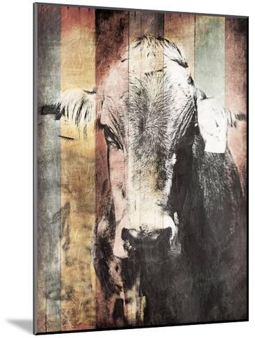 Miultiwood Vintage Cow-Jace Grey-Mounted Art Print