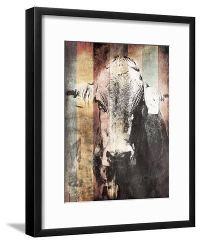 Miultiwood Vintage Cow-Jace Grey-Framed Art Print