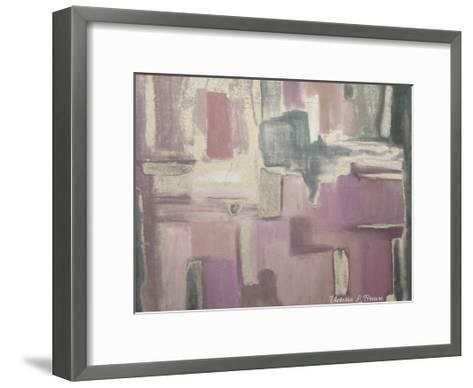 Abstract Soft Pink-Victoria Brown-Framed Art Print