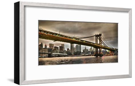 Manhattan Bridge and New York City Skyline, NYC-Vadim Ratsenskiy-Framed Art Print