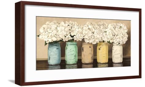 Hydrangeas in Mason Jars-Jenny Thomlinson-Framed Art Print