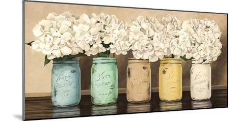 Hydrangeas in Mason Jars-Jenny Thomlinson-Mounted Giclee Print