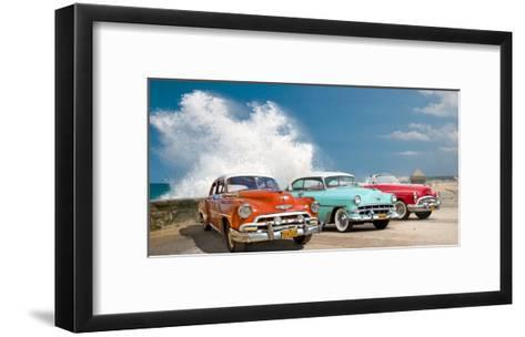 Cars in Avenida de Maceo, Havana, Cuba-Pangea Images-Framed Art Print