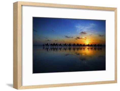 Sunset Camel Ride-Louise Wolbers-Framed Art Print