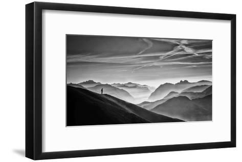 Hunter In The Fog Bw-Vito Guarino-Framed Art Print