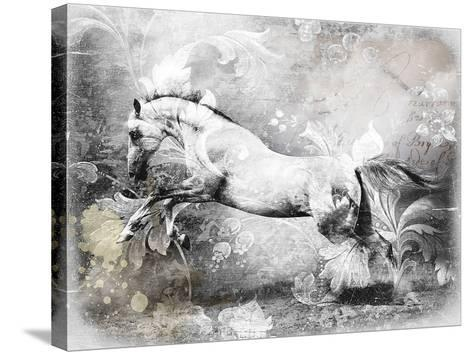 White Horse-GraphINC-Stretched Canvas Print