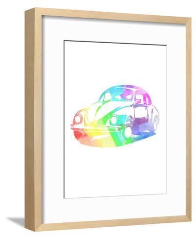 Vw Beetle-Indigo Sage Design-Framed Art Print