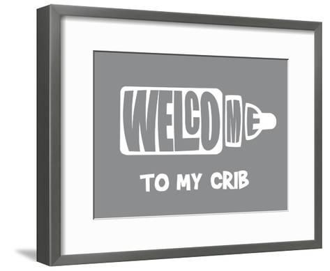 Welcome Crib Grey-Indigo Sage Design-Framed Art Print