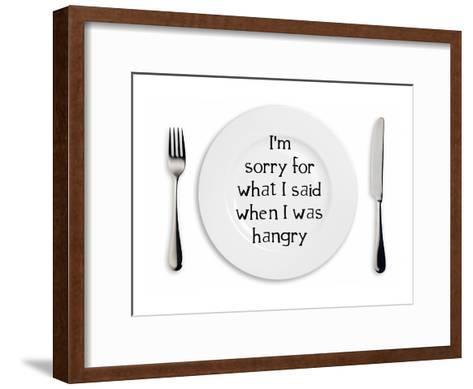 Hangry Sorry Plate-Indigo Sage Design-Framed Art Print