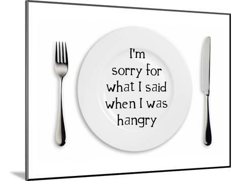 Hangry Sorry Plate-Indigo Sage Design-Mounted Art Print