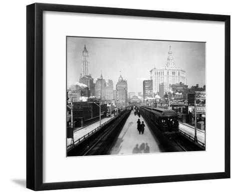 Brooklyn Bridge East River-HA Dunne-Framed Art Print