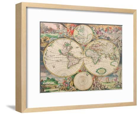 World Map Vintage-Indigo Sage Design-Framed Art Print