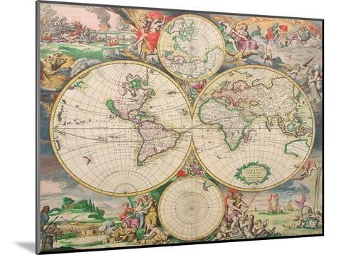 World Map Vintage-Indigo Sage Design-Mounted Art Print