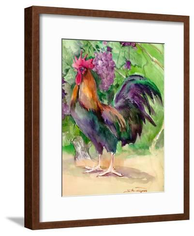 Rooster And Grapes-Suren Nersisyan-Framed Art Print