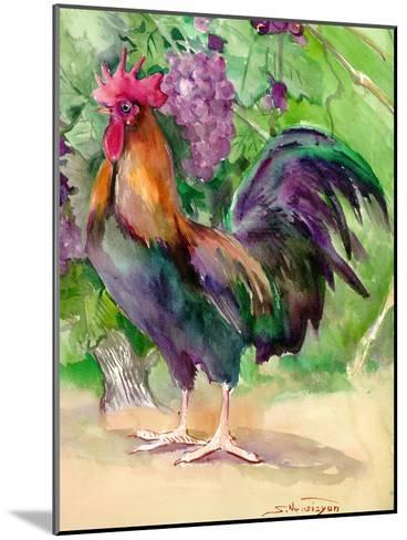 Rooster And Grapes-Suren Nersisyan-Mounted Art Print