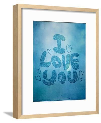 Blue Glitter Love-Grab My Art-Framed Art Print