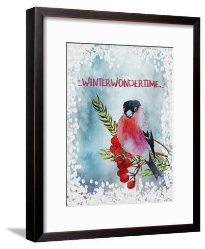 Bird Winter Snow Christmas Illustration 4-Grab My Art-Framed Art Print