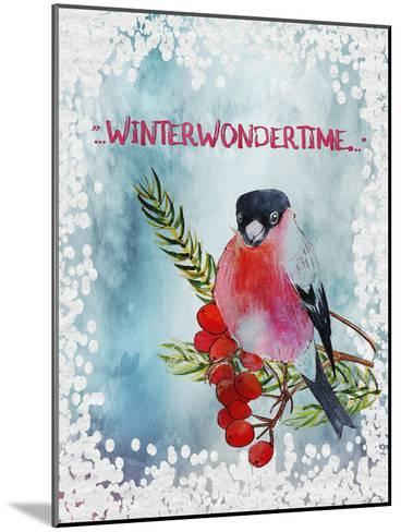 Bird Winter Snow Christmas Illustration 4-Grab My Art-Mounted Art Print