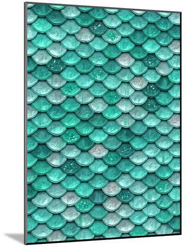 Aqua Glitter Mermaid Scales-Grab My Art-Mounted Art Print
