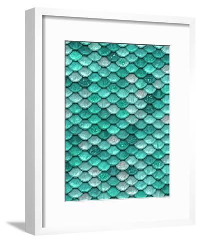 Aqua Glitter Mermaid Scales-Grab My Art-Framed Art Print