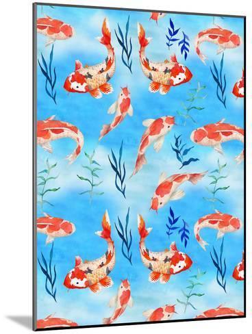Koi Fish Fishes Pattern Illustration-Grab My Art-Mounted Art Print