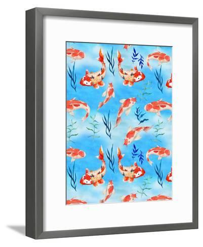 Koi Fish Fishes Pattern Illustration-Grab My Art-Framed Art Print