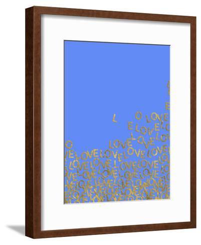 Blue Gold Glitter Pattern Love Letters-Grab My Art-Framed Art Print