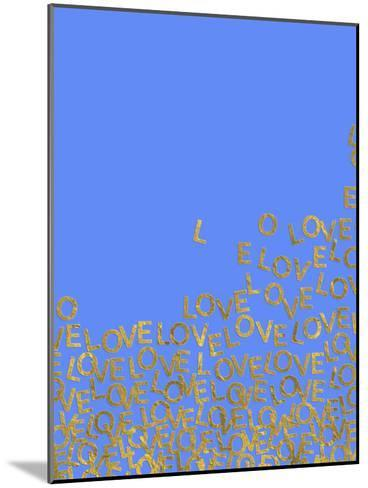 Blue Gold Glitter Pattern Love Letters-Grab My Art-Mounted Art Print