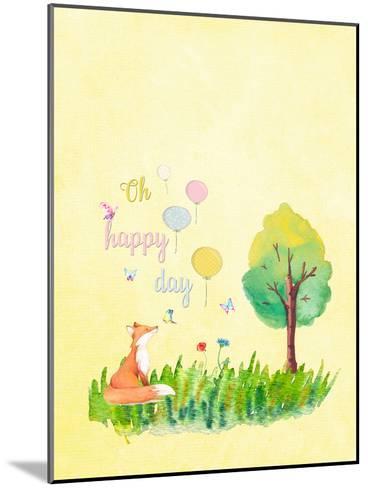 Happy Fox Animal-Grab My Art-Mounted Art Print