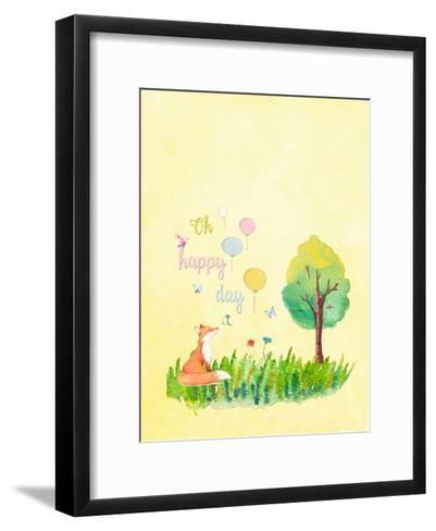 Happy Fox Animal-Grab My Art-Framed Art Print