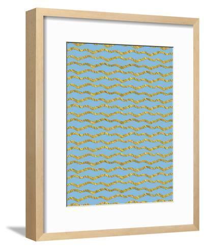 Blue Gold Glitter Pattern Waves-Grab My Art-Framed Art Print