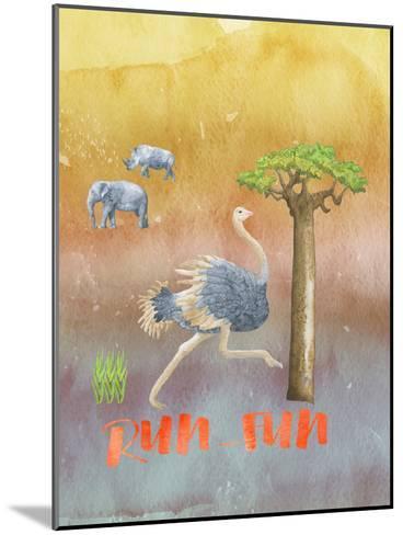 Ostrich Animal Wild Bird-Grab My Art-Mounted Art Print