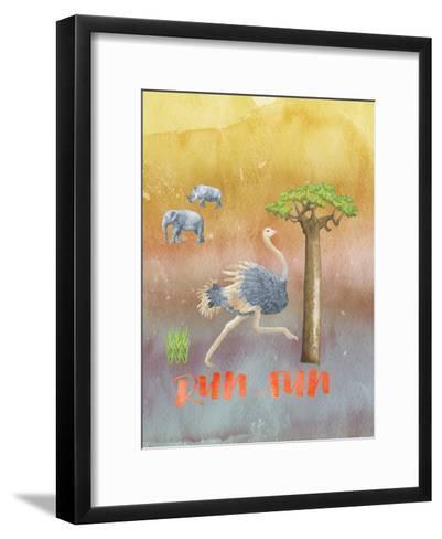 Ostrich Animal Wild Bird-Grab My Art-Framed Art Print