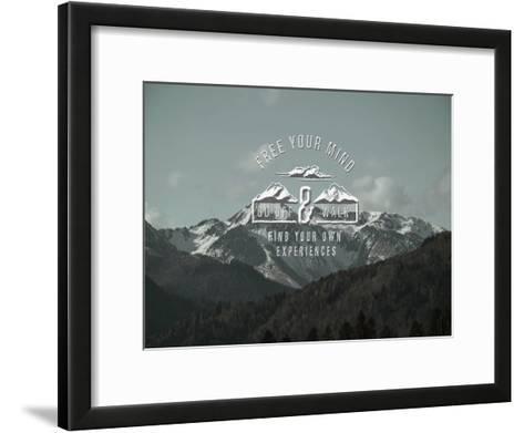Mountains Typography Trees Alpes-Grab My Art-Framed Art Print
