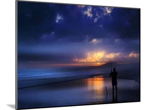 Beach Sea Seascae Sundown Fisherman-Grab My Art-Mounted Art Print