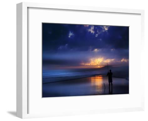 Beach Sea Seascae Sundown Fisherman-Grab My Art-Framed Art Print